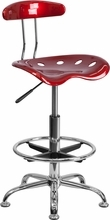 Vibrant Wine Red and Chrome Drafting Stool with Tractor Seat LF-215-WINERED-GG by Flash Furniture