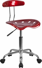 Vibrant Wine Red and Chrome Computer Task Chair with Tractor Seat LF-214-WINERED-GG by Flash Furniture
