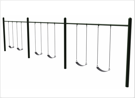 Sports & Fitness Playground Equipment Playground Swings - 581-506 - 4.5 Inch Od Single Post Swing- 6 Seat 581-506