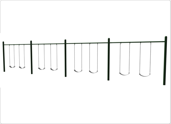 Sports & Fitness Playground Equipment Playground Swings - 581-508 - 4.5 Inch Od Single Post Swing- 8 Seat 581-508