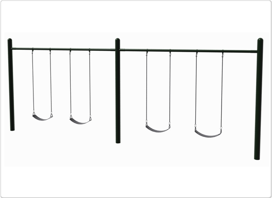 Sports & Fitness Playground Equipment Playground Swings - 581-504 - 4.5 Inch Od Single Post Swing- 4 Seat 581-504