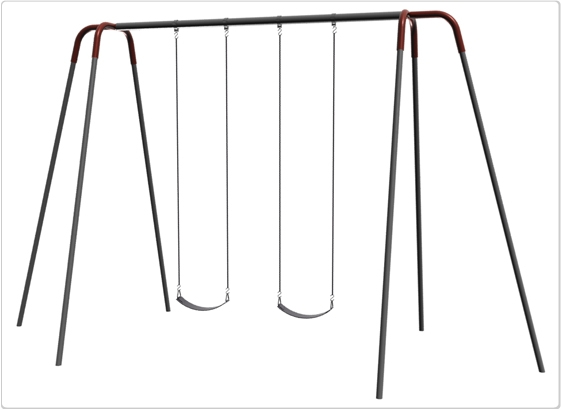 Sports & Fitness Playground Equipment Playground Swings - 581-242 - Heavy Duty Modern Tripod Swing- 12 Foot; 2 Seat 581-242
