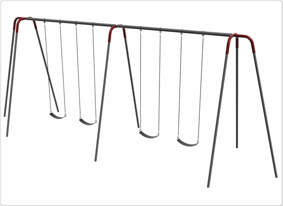 Sports & Fitness Playground Equipment Playground Swings - 581-442 - Heavy Duty Modern Tripod Swing- 12 Foot; 4 Seat 581-442