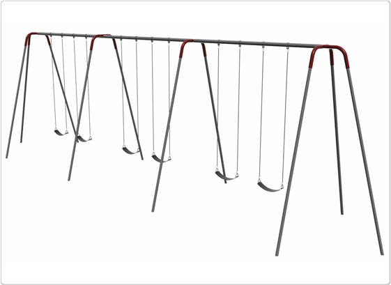 Sports & Fitness Playground Equipment Playground Swings - 581-643 - Heavy Duty Modern Tripod Swing- 12 Foot; 6 Seat 581-643