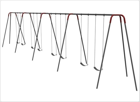 Sports & Fitness Playground Equipment Playground Swings - 581-842 - Heavy Duty Modern Tripod Swing- 12 Foot; 8 Seat 581-842