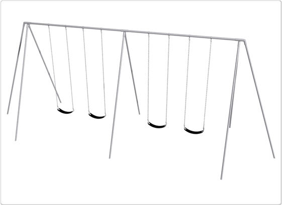 Sports & Fitness Playground Equipment Playground Swings - 581-422 - Primary Tripod Swing- 12 Foot; 4 Seat 581-422