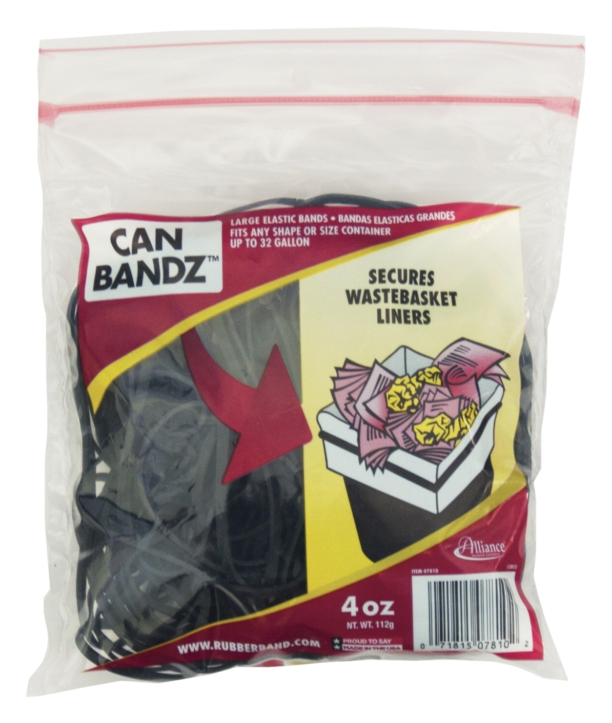 Facilities Waste Supplies & Recycling Covers & Bags & Liners - 086609 - Alliance Rubber Company Bandz Can; 32 Gal; 1/4 Lb Bag; Large; 7 X 1/8 In; Rubber/plastic; Black; Pack Of 50 086609