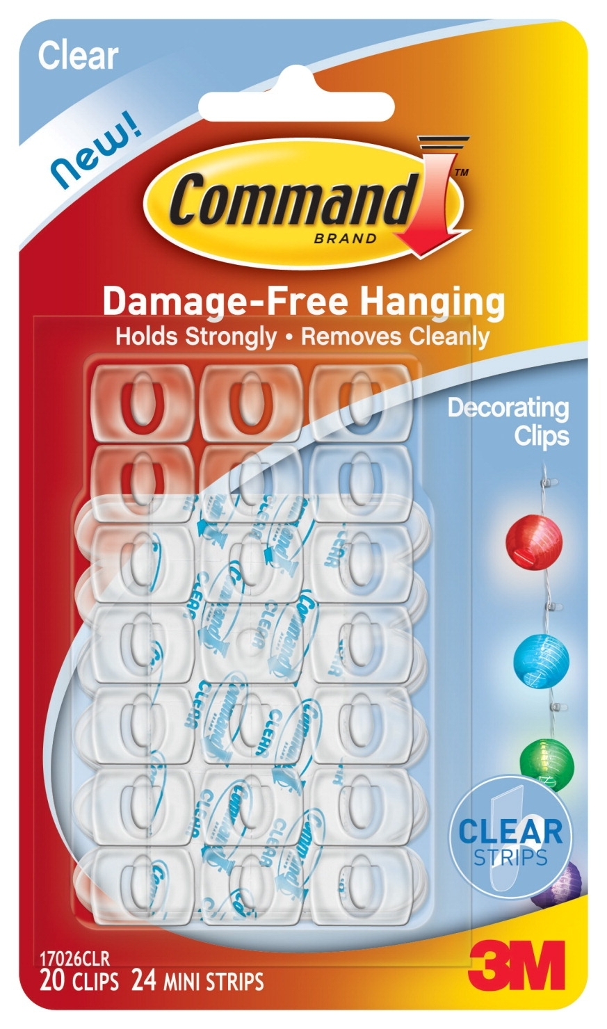 Facilities Power Strips & Cords & Plugs Power Strips & Outlet Strips - 1434802 - Command Decorating Clip With 24 Adhesive Mini Strips; Clear; Pack Of 20 1434802