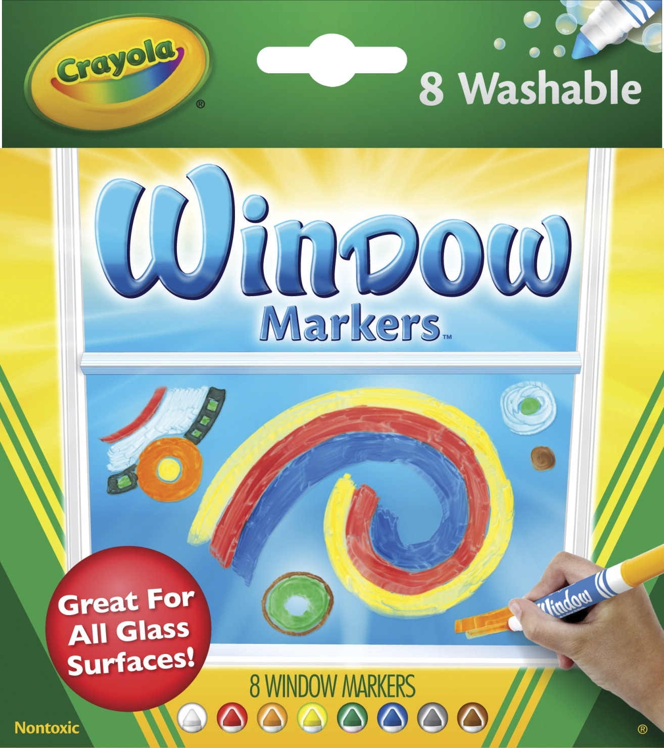 Learning: Supplies Drawing Markers Washable Markers - 402359 - Crayola Standard Non-toxic Washable Window Marker; 1/2 In Extra-wide Tip; Assorted Vibrant Colors; Pack Of 8 402359