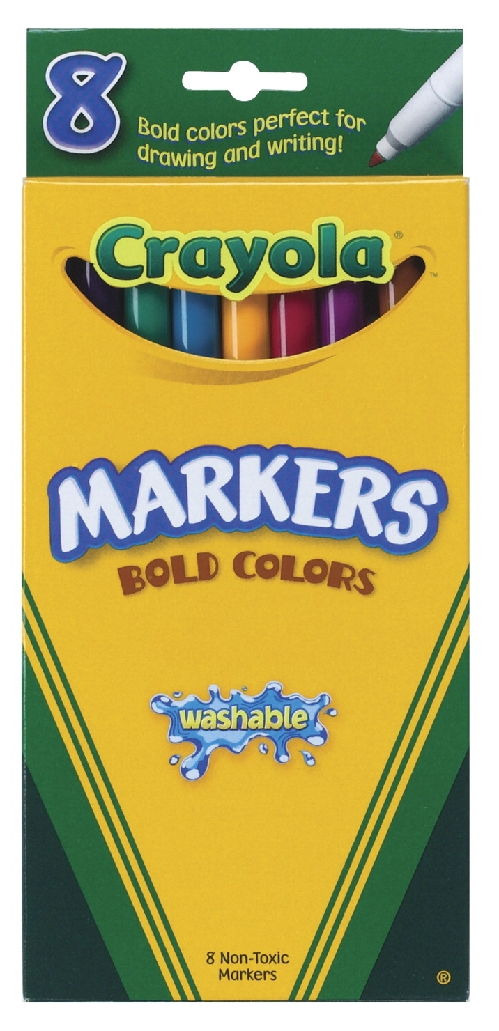 Learning: Supplies Drawing Markers Washable Markers - 008547 - Crayola Non-toxic Thinline Washable Marker Set; Assorted Bold Colors; Set Of 8 008547