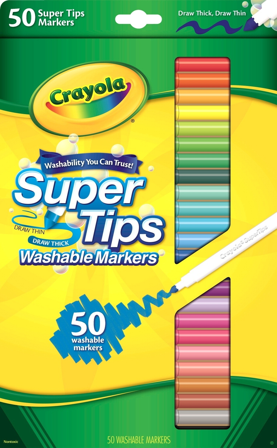 Learning: Supplies Drawing Markers Washable Markers - 410485 - Crayola Non-toxic Washable Marker Set With 12 Scented Markers; Super Tip; Assorted Colors; Set Of 50 410485