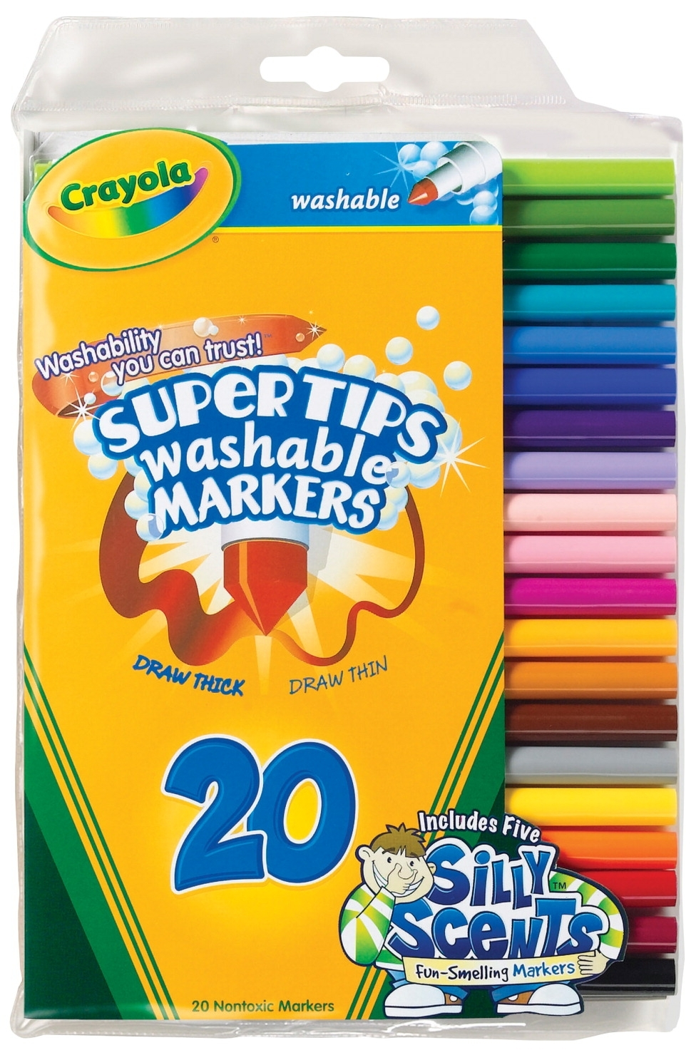 Learning: Supplies Drawing Markers Washable Markers - 410492 - Crayola Non-toxic Washable Marker Set With 5 Scented Markers; Super Tip; Assorted Colors; Set Of 20 410492