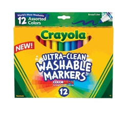 Learning: Supplies Drawing Markers Washable Markers - 024031 - Crayola Non-toxic Washable Marker Set; Conical Tip; Assorted Colors; Set Of 12 024031