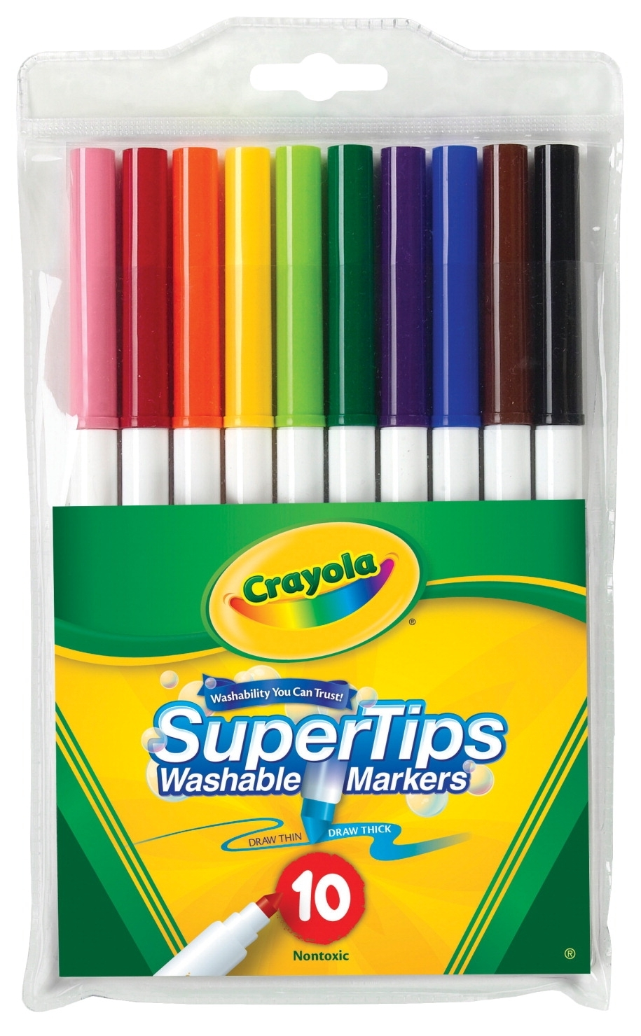 Learning: Supplies Drawing Markers Washable Markers - 1371175 - Crayola Non-toxic Washable Marker Set; Super Tip; Assorted Colors; Set Of 10 1371175
