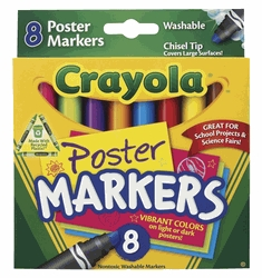 Learning: Supplies Drawing Markers Washable Markers - 1382244 - Crayola Non-toxic Washable Poster Marker; Chisel Tip; Assorted Colors; Pack Of 8 1382244