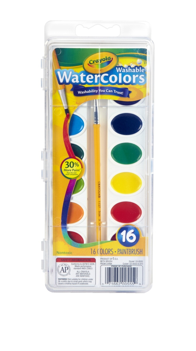 Learning: Play Art Drawing Supplies Washable Paint & Watercolor Paint - 008685 - Crayola Non-toxic Washable Semi-moist Watercolor Paint Set; Plastic Oval Pan; Assorted Color; Set Of 16 008685
