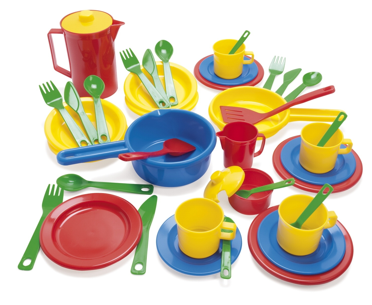 Learning: Play Dramatic Play Kitchen Area Dishes & Cookware - 075047 - Dantoy 41-piece Toddler Cookware And Dish Set 075047