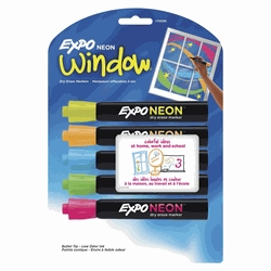 Learning: Supplies Pens Pencils & Markers Highlighters - 1369745 - Expo Low Odor Non-toxic Dry Erase Marker; Bullet Tip; Assorted Neon Color; Pack Of 5 1369745