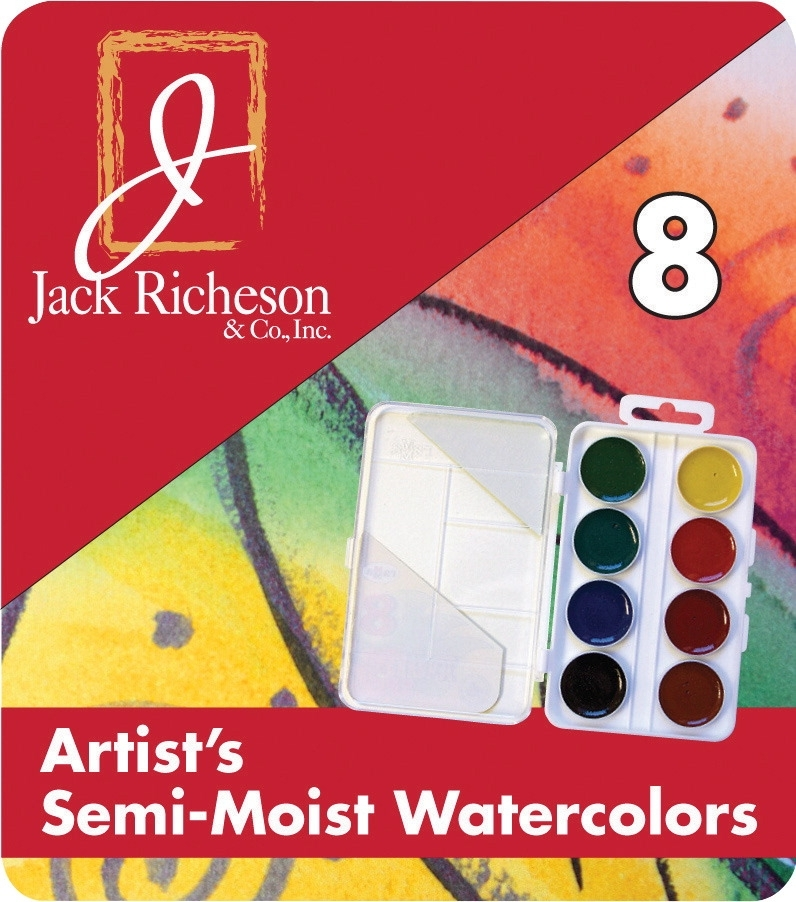 Learning: Classroom Arts & Crafts Paints Watercolor Paints - 1439135 - Jack Richeson Non-toxic Semi-moist Artists Watercolor Paint Set; Assorted Vibrant Color; Set Of 8 1439135