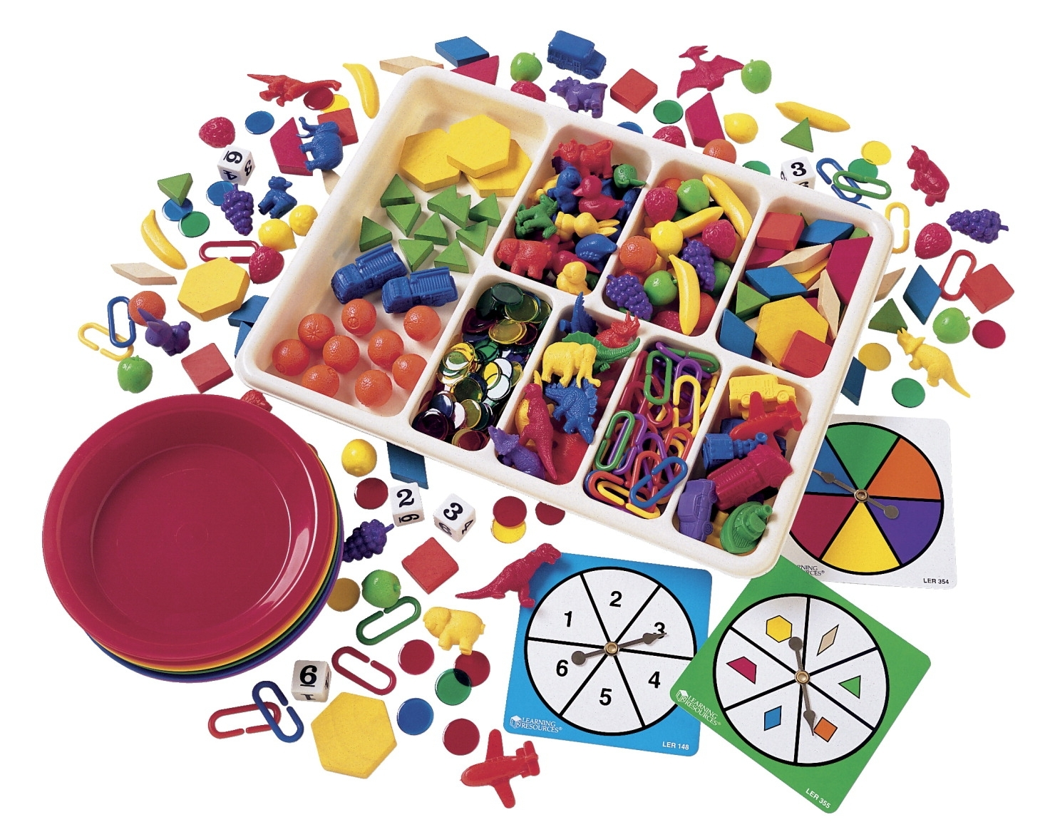Learning: Classroom Math Sorting Activities & Sorting Trays - 347126 - Learning Resources Deluxe Sorting Set With Activity Cards 347126