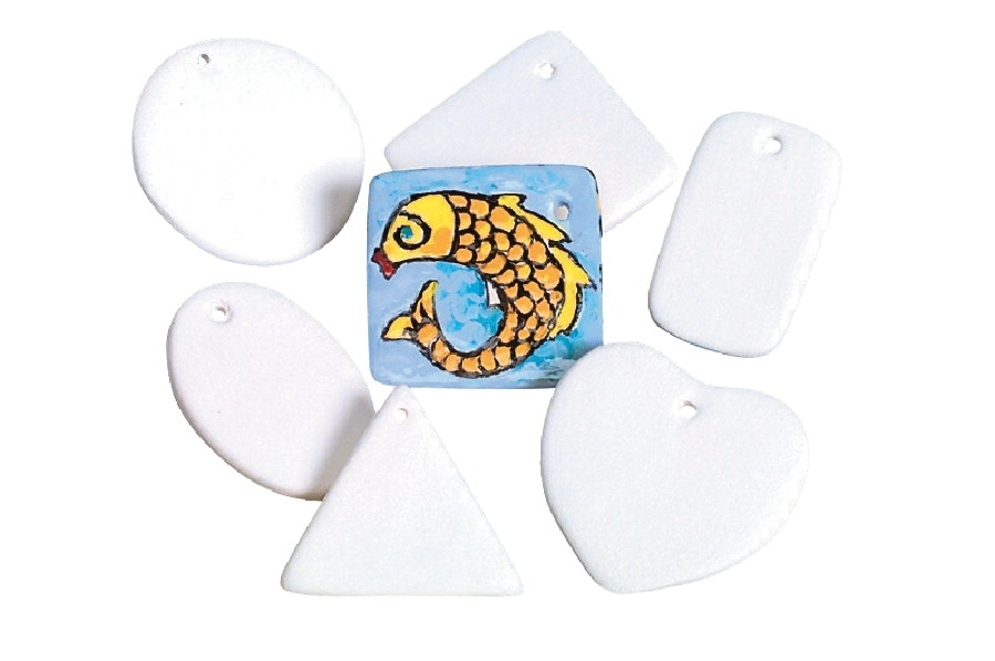 Learning: Supplies Art & Craft Supplies Ceramics Glazes & Ceramics - 248423 - Mayco Bisquettes Assorted Shape Ceramic Medallion; White; Pack Of 150 248423