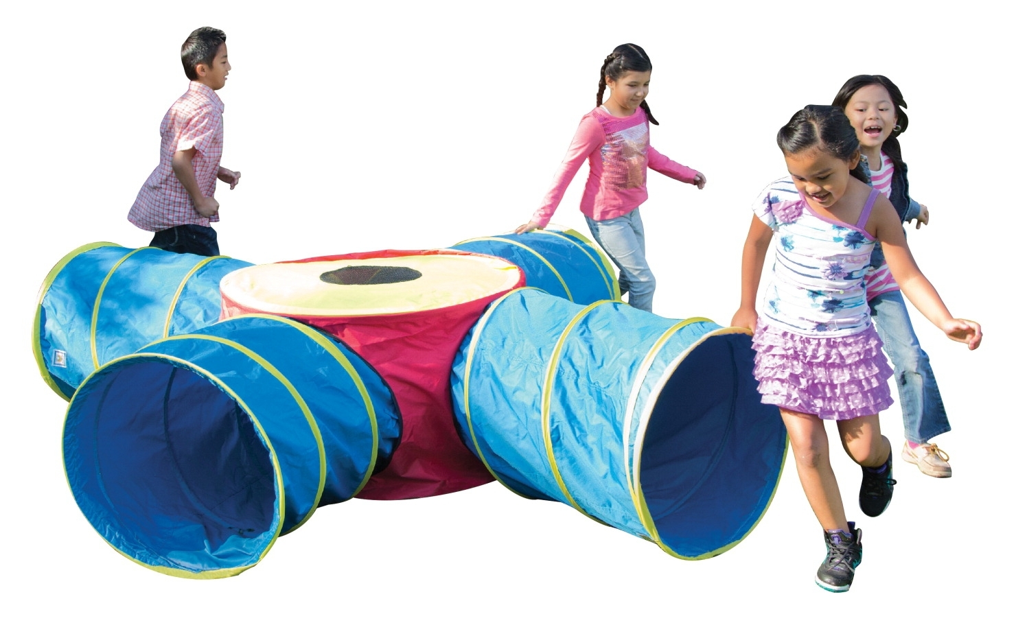 Learning: Play Early Childhood Active Play Tents & Tunnels - 1502626 - Pacific Play Tents Institutional Tunnels Of Fun Junction Tunnel Set With Four 4 Ft Long Tunnels; Polyester 1502626