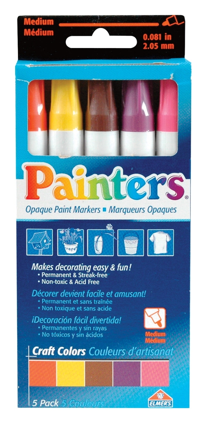 Learning: Classroom Arts & Crafts Paints Specialty Paints - 411073 - Painters Permanent Paint Markers; Assorted Craft Colors; Set Of 5 411073