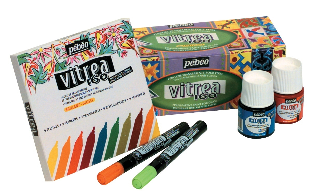 Learning: Classroom Arts & Crafts Paints Finger Paints - 246419 - Pebeo Vitrea 160 Non-toxic Water Based Paint Marker Set; 10 Pieces; Assorted Glossy Color; Set Of 10 246419