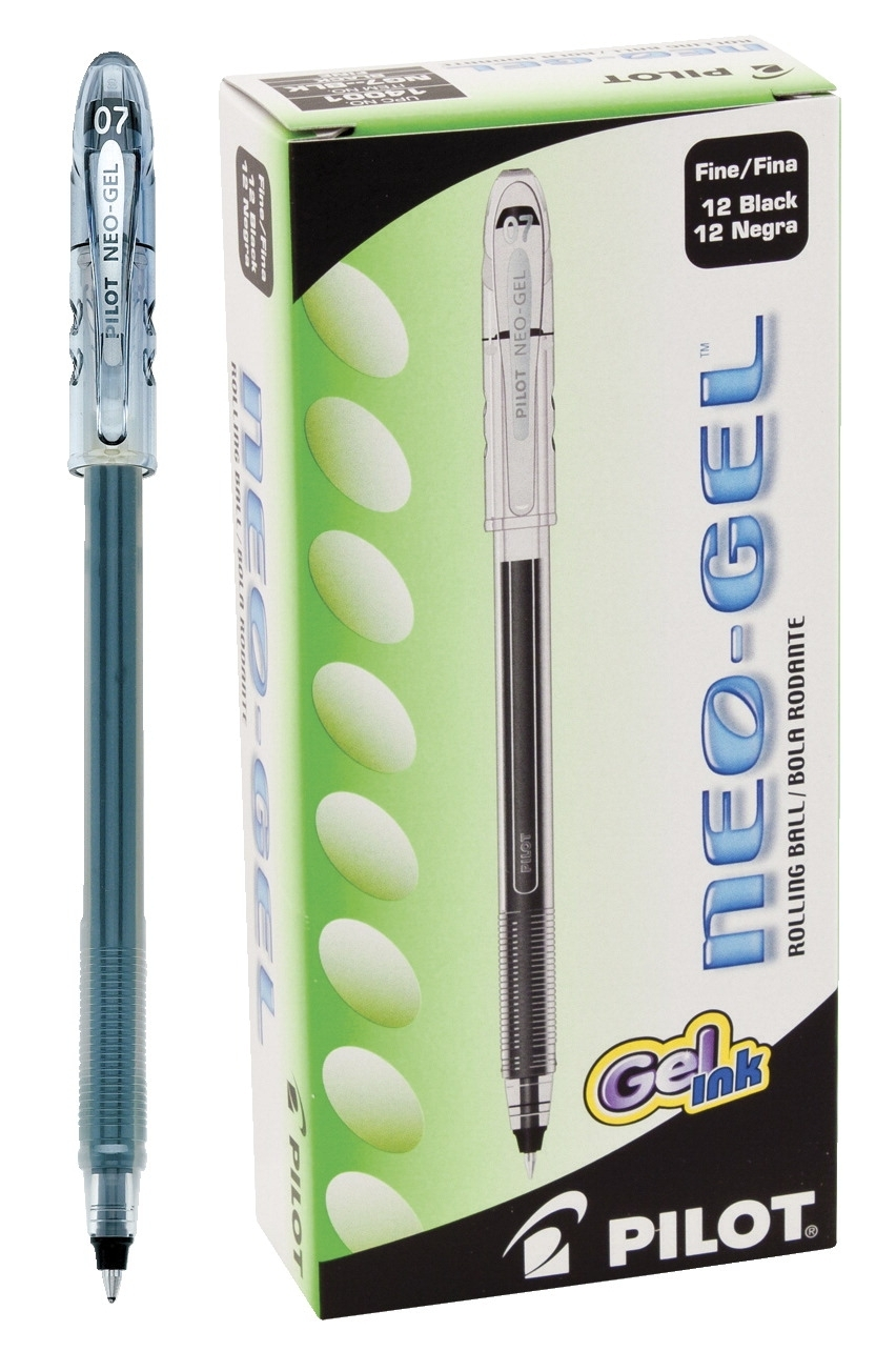 Learning: Supplies Pens Pencils & Markers Pens & Rollerball - 081650 - Pilot Neo-gel Acid-free Water Resistant Roller Ball Pen; Fine Tip; Black; Pack Of 12 081650