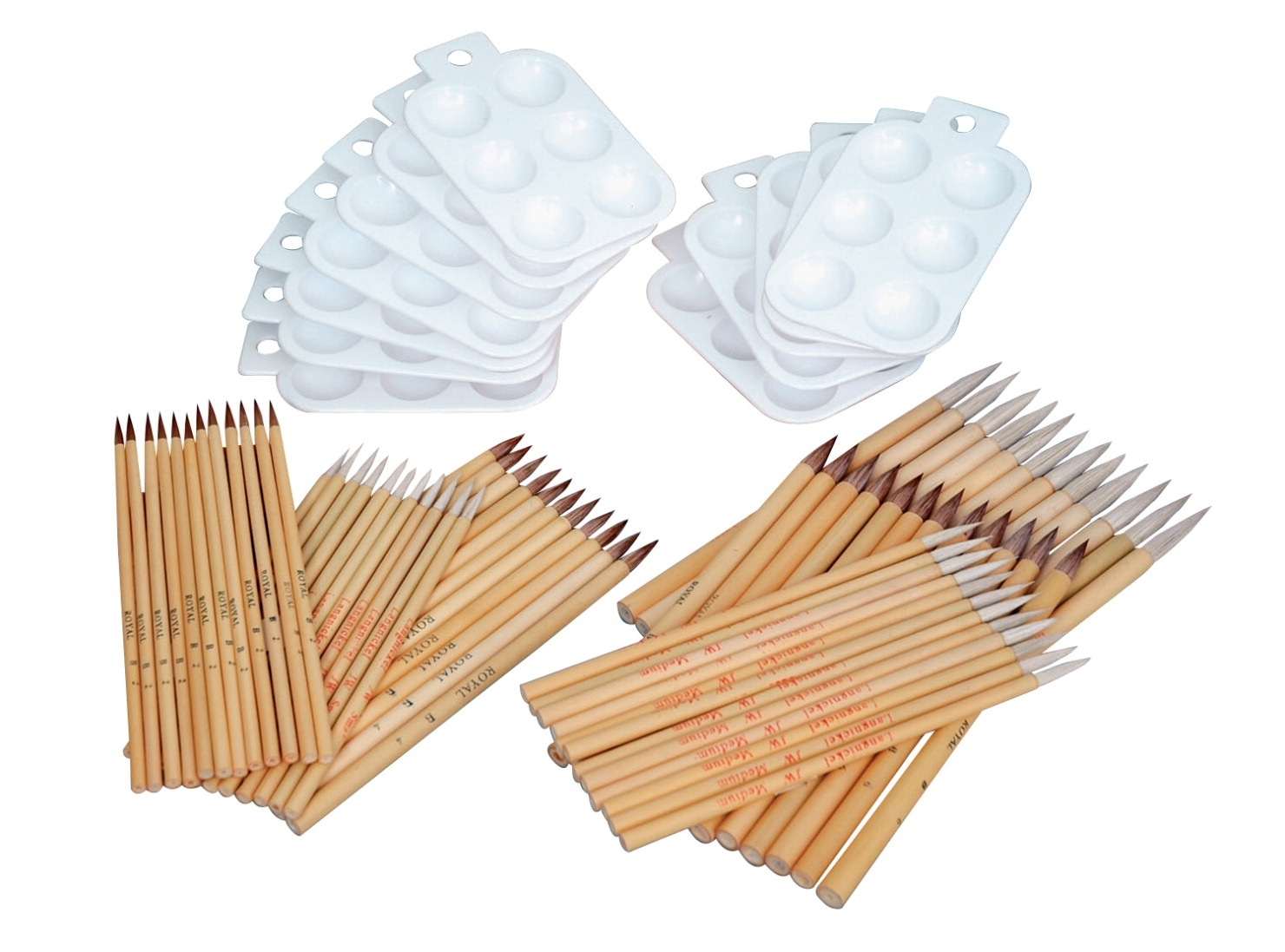 Learning: Classroom Arts & Crafts Paint Brushes & Accessories Specialty Brushes - 409190 -  Brush Ox And Goat Hair Bamboo Brush Classroom Assortment; Assorted Size; Pack Of 84 409190