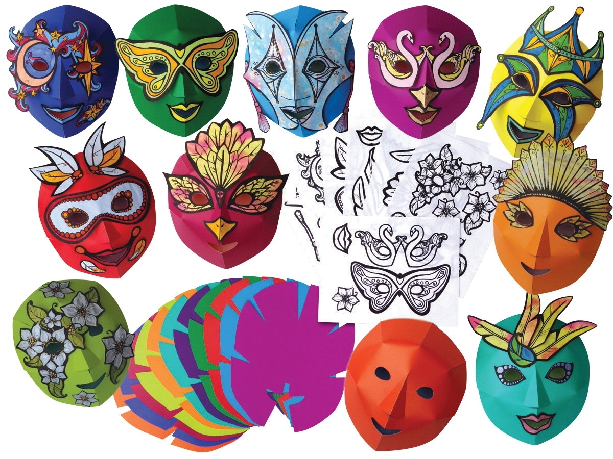 Learning: Classroom Arts & Crafts Crafts Paper Crafts - 410527 - Roylco Easy-to-decorate Mardi Gras Mask; 8-1/2 X 10-1/2 In; Pack Of 30 410527