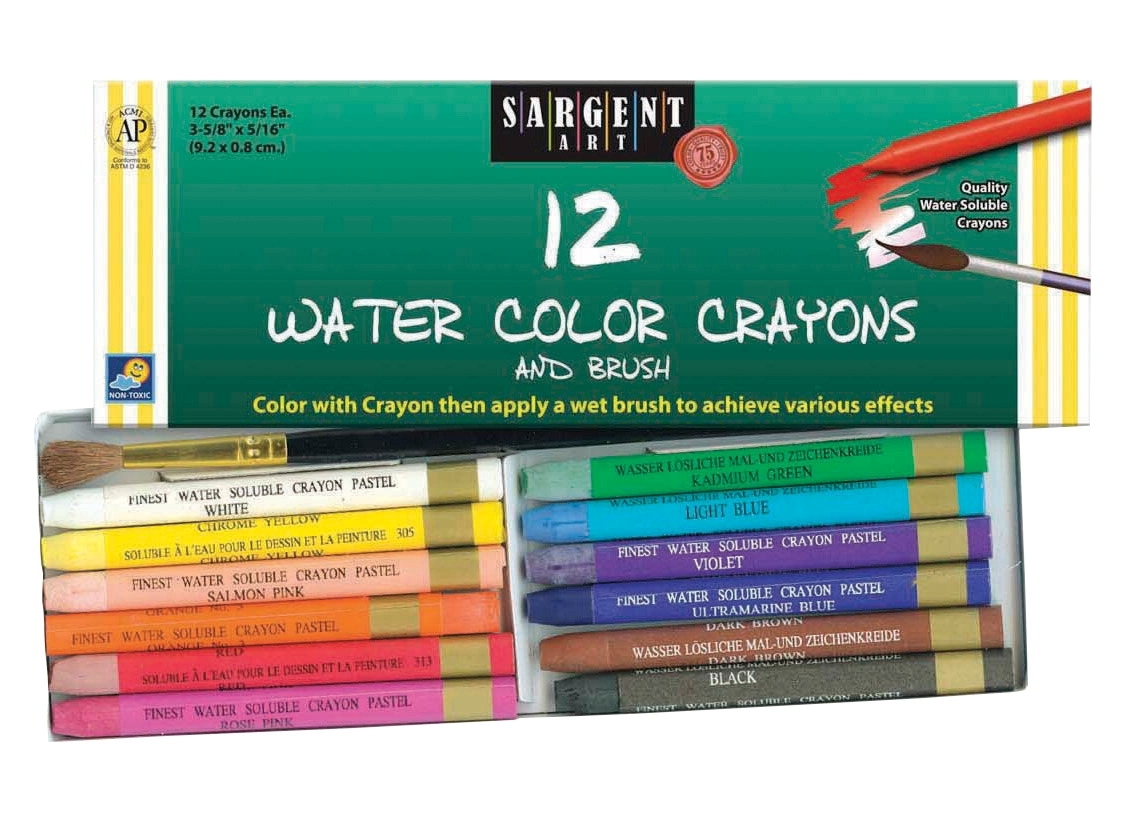 Learning: Supplies Art & Craft Supplies Crayons Specialty Crayons - 401343 - Sargent Art Non-toxic Water Soluble Watercolor Crayon Set; 5/16 X 3-5/8 In; Assorted Color; Set Of 12 401343
