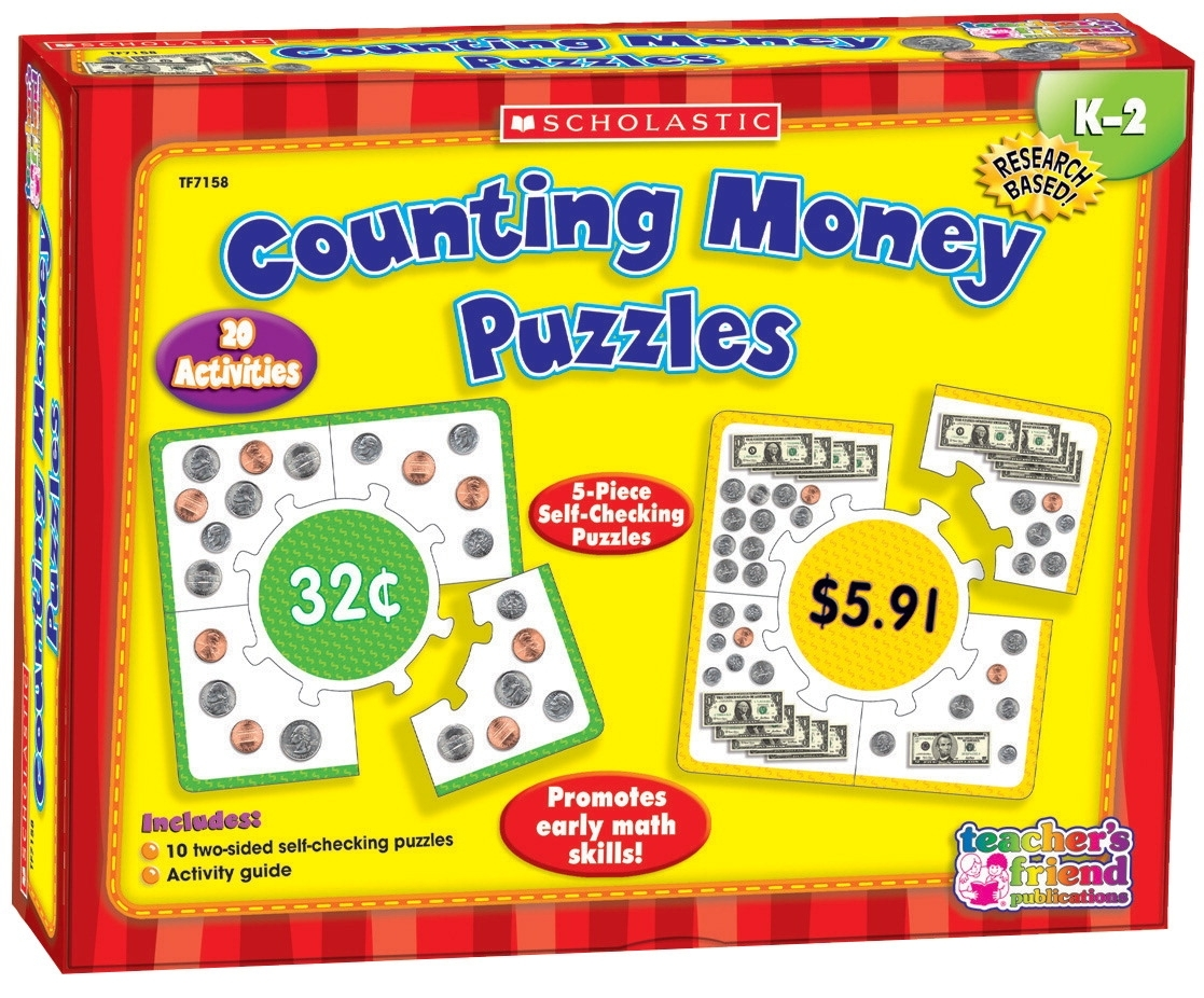 Learning: Classroom Math Sorting Activities & Sorting Trays - 091551 - Scholastic Counting Money Hands-on Learning Puzzle Set 091551