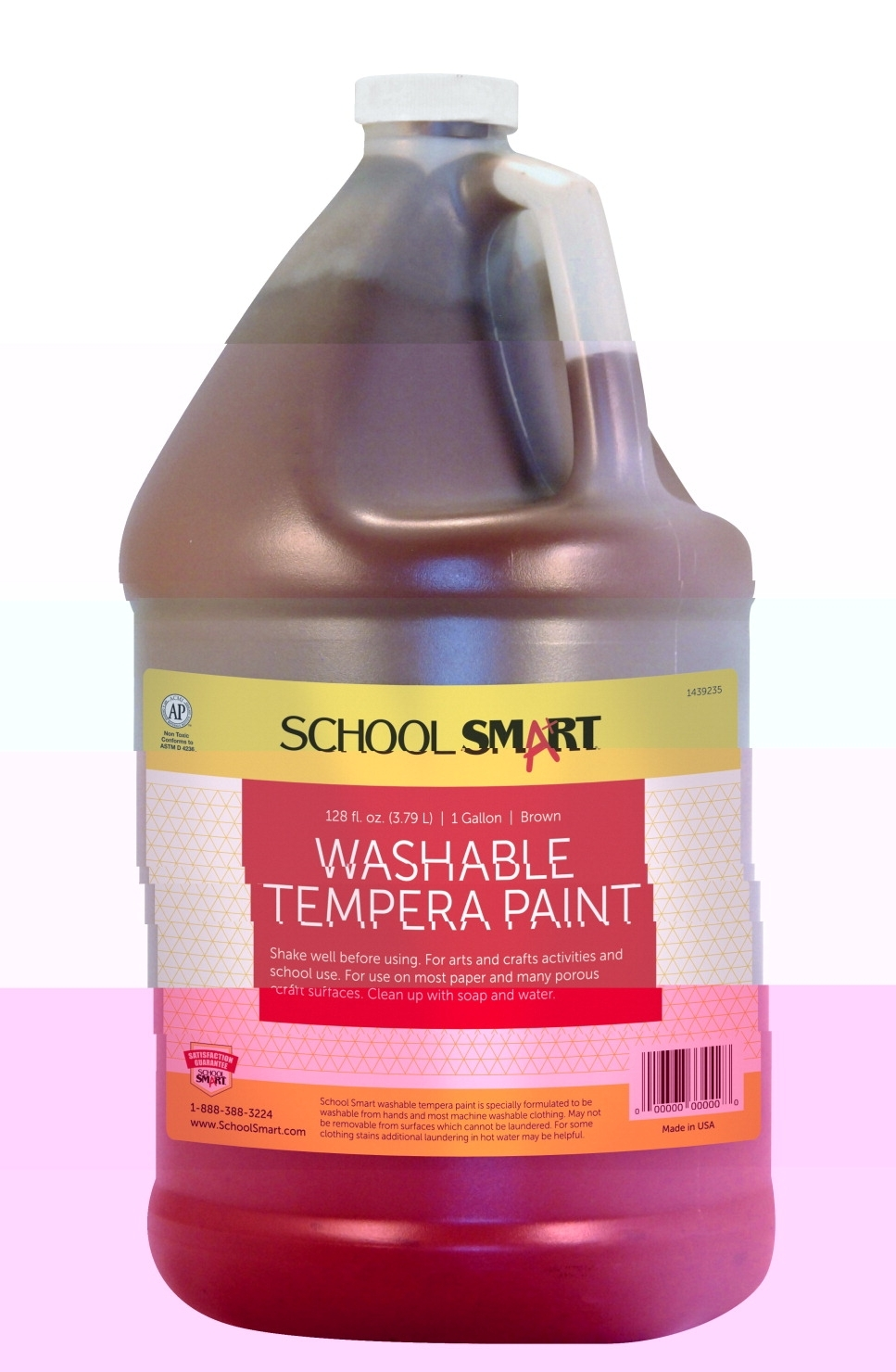 Learning: Classroom Arts & Crafts Paints Tempera Paints - 1439235 - School Smart Non-toxic Washable Tempera Paint; 1 Gal Plastic Bottle; Brown 1439235