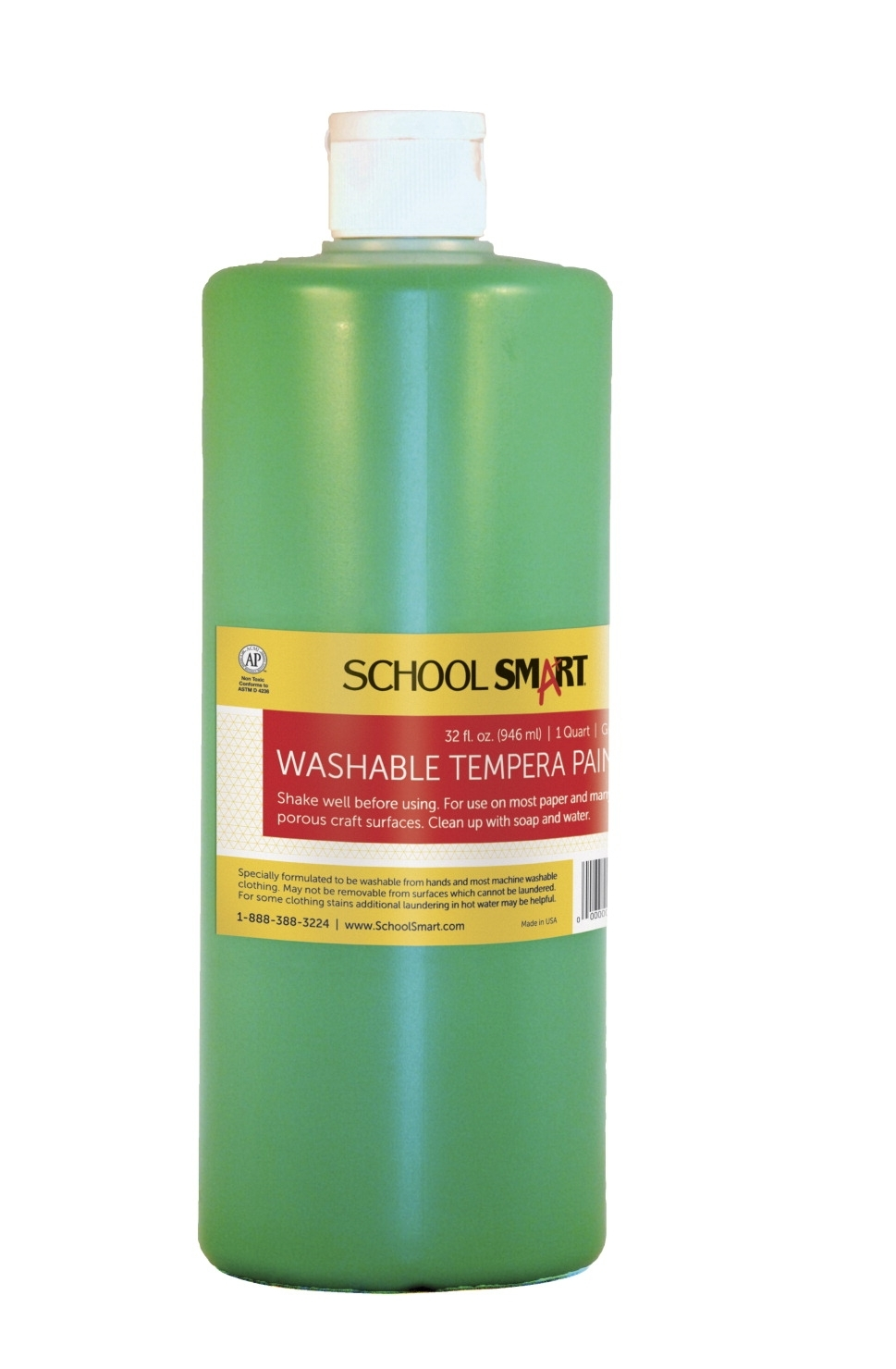 Learning: Classroom Arts & Crafts Paints Tempera Paints - 1439225 - School Smart Non-toxic Washable Tempera Paint; 1 Qt Plastic Bottle; Green 1439225