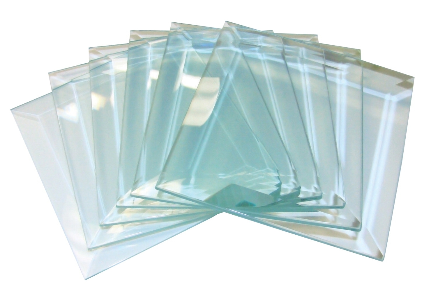 Learning: Supplies Art & Craft Supplies Glass Fusing Supplies & Kits - 406260 - School Specialty Glass Square Bevel; 4 X 4 In; Clear; Set Of 6 406260