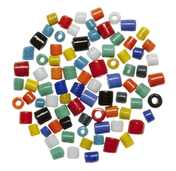Learning: Supplies Art & Craft Supplies Beads & Beading Supplies - 1569255 - School Specialty Opaque Glass Barrel Beads; 1 Pound; Assorted Colors 1569255