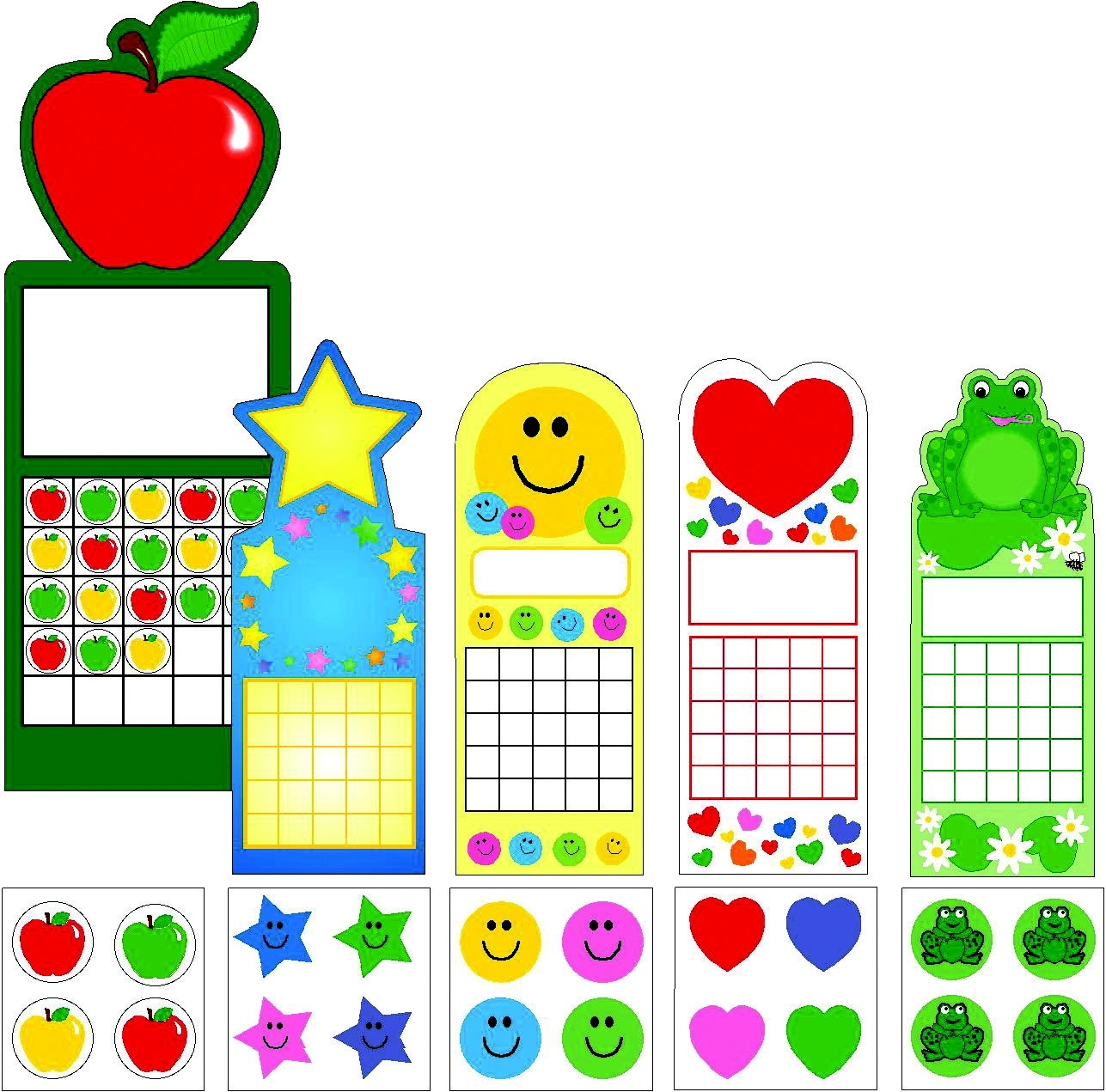 Learning: Supplies Teacher Helpers Awards & Incentives Trophies Awards & Medals - 090247 - Shapes Etc Shapes Etc 5 Seasonal Designs Personal Chart And Sticker Set; 2-3/4 X 7-1/2 In; Set Of 120 090247