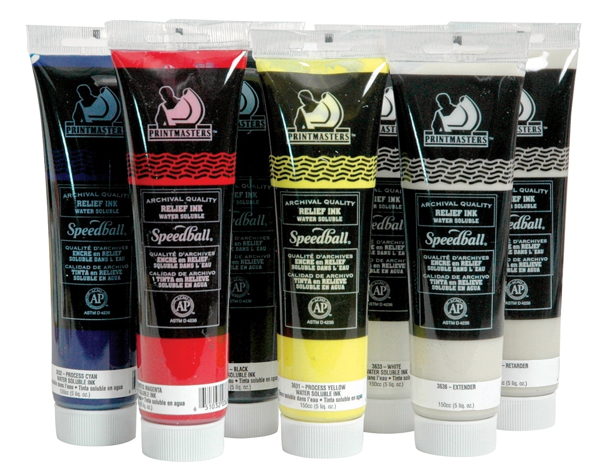 Learning: Science Lab Equipment & Supplies Bottles Containers Pvc Bottles - 410811 - Speedball Print Masters Non-toxic Water Based Relief Ink Set With Retarder; 5 Oz Bottle; Assorted Color; Set Of 5 410811