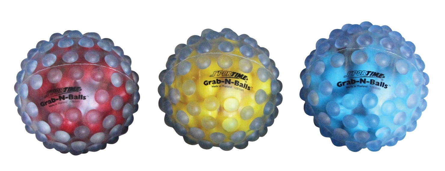 Sports & Fitness Physical Education & Sport Team Building Activities & Equipment Throwing & Catching Games & Activities - 1283345 - Sportime 4 In Grab-n-balls; Set Of 3; Assorted Primary Colors 1283345