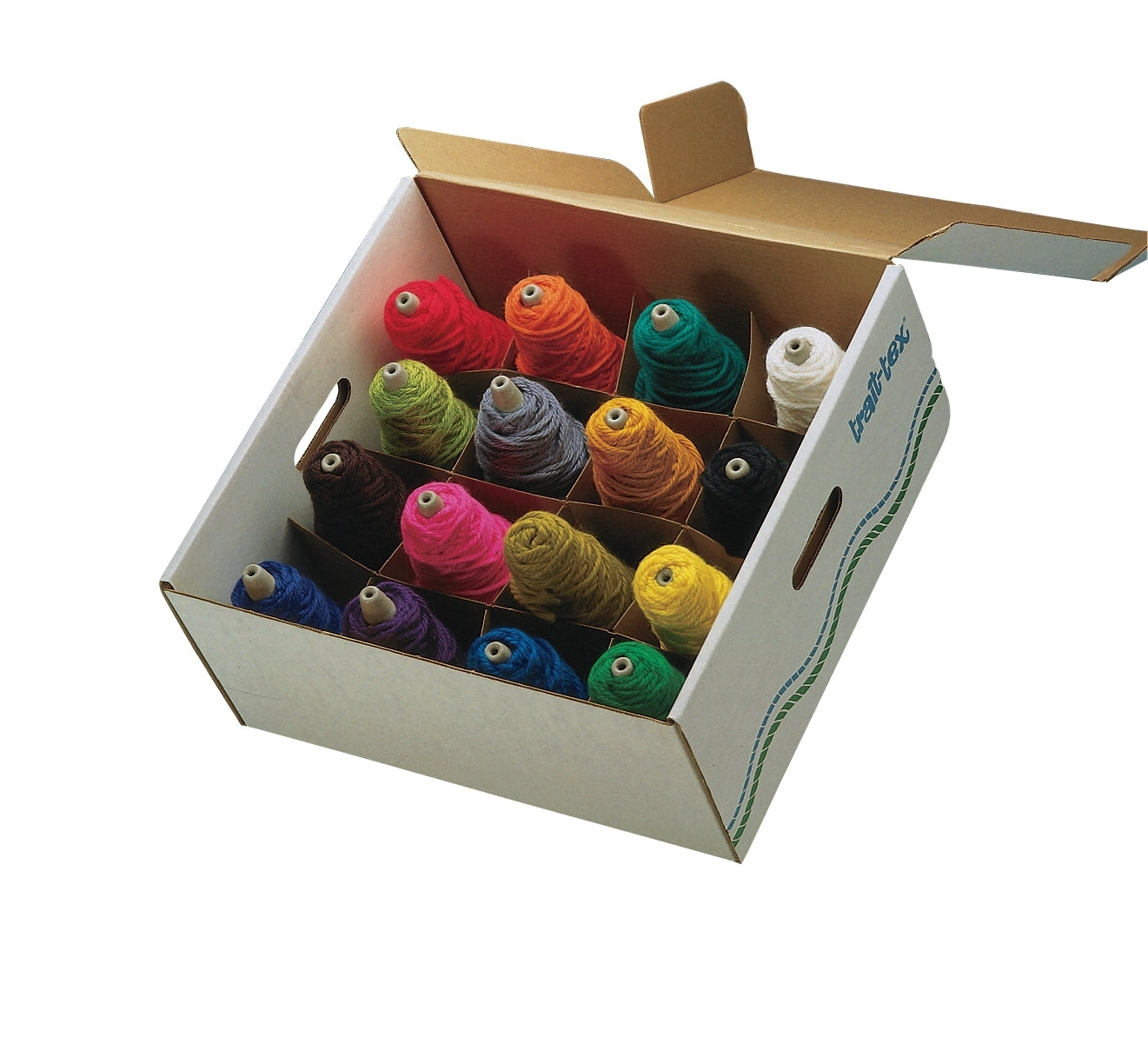 Learning: Classroom Arts & Crafts Crafts Yarn Weaving & Knitting - 413663 - Trait Tex Acrylic Washable Standard-weight Yarn Cone Set; 5670 Yd Dispenser Box; Assorted Bright Color; 8 Oz; Set Of 9 413663