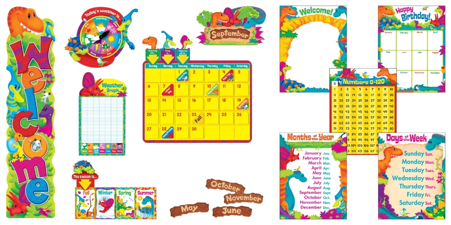 Learning: Supplies Bulletin Boards & Letter Boards Bulletin Boards Cork Boards & Tackboards - 1532166 - Trend Enterprises Dino-mite Pals Everyday Super Pack Bulletin Board Set 1532166