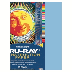 Learning: Supplies Paper Construction Paper Sulphite Paper - 054108 - Tru-ray Sulphite Acid-free Non-toxic Construction Paper; 76 Lb; 12 X 18 Inches; Sky Blue; Pack Of 50 054108