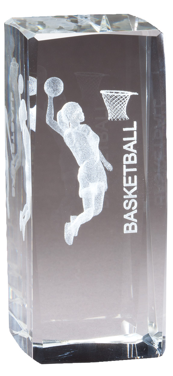 "4 1/2"" X 2"" Crystal Award Female Basketball Figure Laser Engraved Inside - Cr312 - Paperweights Optical Cut Trophies And CR312"