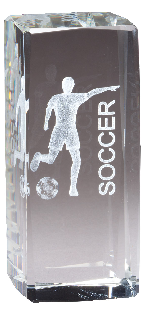 "4 1/2"" X 2"" Crystal Award Female Soccer Figure Laser Engraved Inside - Cr315 - Paperweights Optical Cut Trophies And CR315"