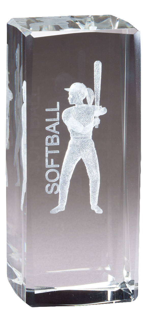 "4 1/2"" X 2"" Crystal Award Female Softball Figure Laser Engraved Inside - Cr313 - Paperweights Optical Cut Trophies And CR313"