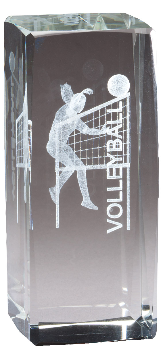 "4 1/2"" X 2"" Crystal Award Female Volleyball Figure Laser Engraved Inside - Cr319 - Paperweights Optical Cut Trophies And CR319"