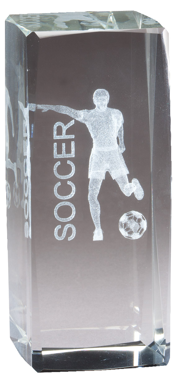 "4 1/2"" X 2"" Crystal Award Male Soccer Figure Laser Engraved Inside - Cr314 - Paperweights Optical Cut Trophies And CR314"