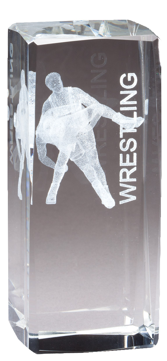 "4 1/2"" X 2"" Crystal Award Male Wrestler Figure Laser Engraved Inside - Cr318 - Paperweights Optical Cut Trophies And CR318"