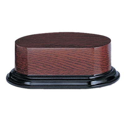 4-1/8 X 5-5/8 2-1/4 Wood Oval Base Walnut Finish - Xu905 - Awards Trophy Eagles Without Plates XU905